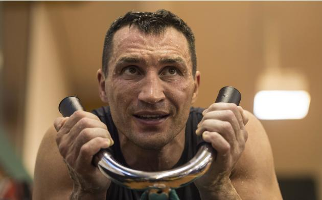 Ukrainian heavy weight boxing World Champion Wladimir Klitschko attends a public training session in Going