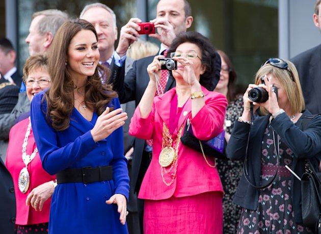 Kate Middleton Wears Mother's Blue Reiss Dress For Her First Speech in Ipswich
