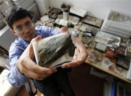 Min Zhu, professor at the Chinese Academy of Sciences' Institute of Vertebrate Paleontology and Paleoanthropology, shows a fossil of the heavily armoured fish, Entelognathus primordialis, during a photo opportunity at his laboratory in Beijing September 27, 2013. REUTERS/Kim Kyung-Hoon