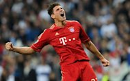 Bayern Munich's Mario Gomez celebrates after his side won the Champions League second leg semi-final against Real Madrid on April 25. Bayern beat nine-time champions Real 3-1 on penalties to go into the final