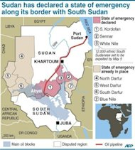 "A map of Sudan and South Sudan showing the states and the oil blocks. South Sudan has not stopped hostilities in line with a UN resolution because it continues to ""occupy"" points along the disputed border and will be expelled by force, Sudanese officials said Friday"
