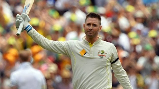 Australia's captain Michael Clarke celebrates scoring his century against England during day two of the second Ashes Test in Adelaide (Reuters)