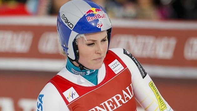 Lindsey Vonn of the US reacts in the arrival area in the Women's World Cup Downhill skiing race in Val d'Isere (Reuters)