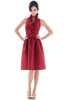 A-line halter dress with neck ruffle