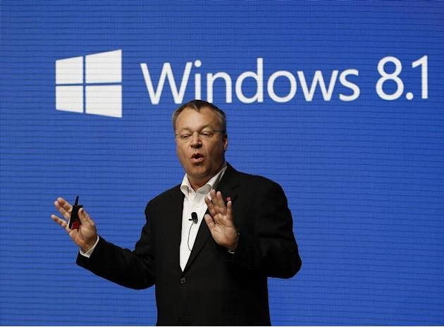 Nokia's CEO Elop gestures during a presentation at the Mobile World Congress in Barcelona
