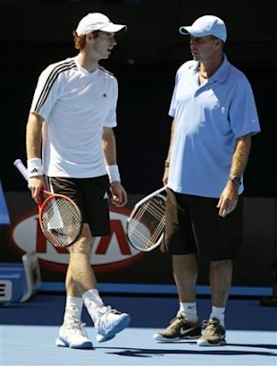 Andy Murray of Britain, left, talks with coach Ivan Lendl during a practice session for the Australian Open tennis championship, in Melbourne, Austra