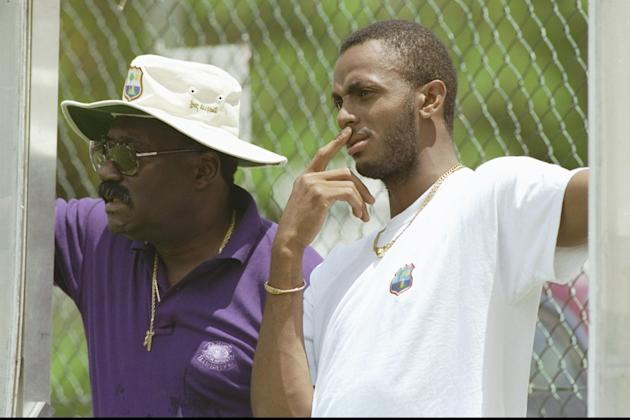 Clive Lloyd (left) the manager of the West Indies discusses tactics with team captain Courtney Walsh