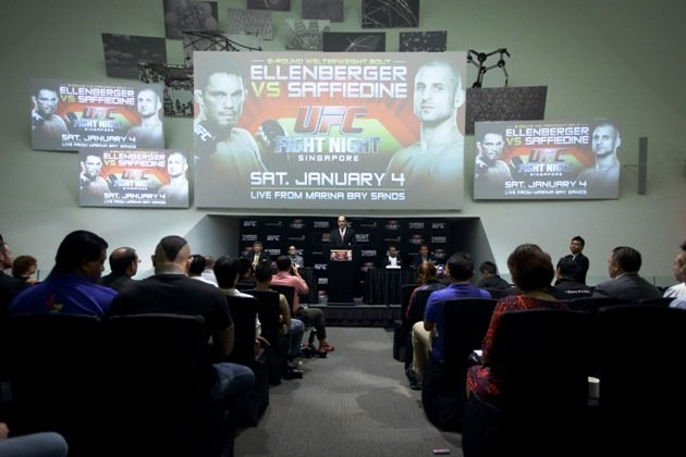 The turnout at the press conference for UFC's first fight in Singapore and Southeast Asia. (Getty Images)
