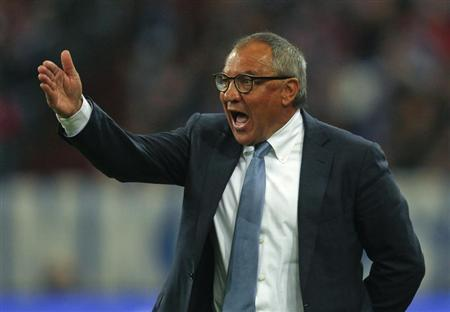 Wolfsburg's coach Magath gestures during the German first division Bundesliga soccer match against Schalke 04 in Gelsenkirchen