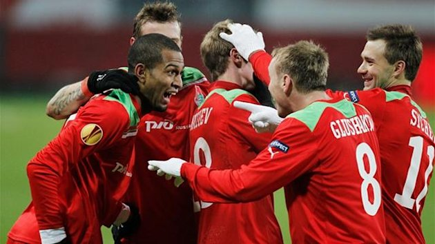 Lokomotiv Moscow players celebrate a goal (Reuters)