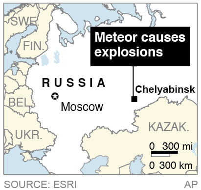 Map locates Chelyabinsk, Russia, where a meteor caused explosions in the area;