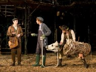 "This undated theater image released by The Public Theater shows actor Denis O'Hare, from left, Gideon Glick, and Johnny Newcomb in The Public Theater's Shakespeare in the Park production of ""Into The Woods,"" at the Delacorte Theater in New York. O'Hare, who had earned his first ever Emmy nod as a best supporting actor in the FX show ""American Horror Story,"" is currently on the HBO vampire series ""True Blood."" He can also be seen live through Aug. 25, as the Baker in the musical ""Into the Woods,"" the second show of The Public Theater's 50th Anniversary season at the Delacorte Theater in Central Park. (AP Photo/The Public Theater, Joan Marcus)"