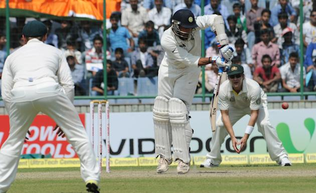 Murali Vijay of India in an action against Australia during the 4th test match of Border Gavaskar Trophy, at the Feroz Shah Kotla Stadium in Delhi on March 23, 2013. P D Photo by P S Kanwar