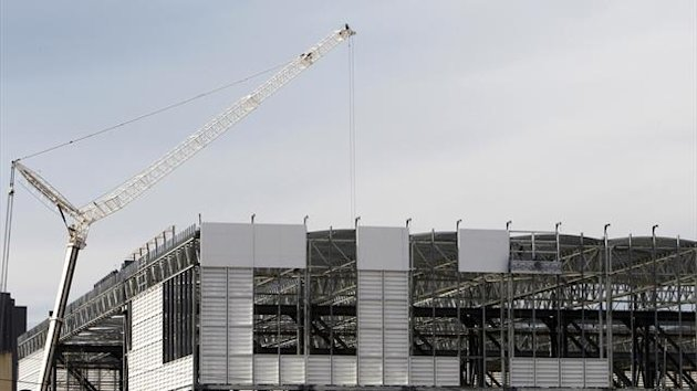 The Arena da Baixada soccer stadium, being rebuilt for the 2014 World Cup, is pictured during a visit by FIFA Secretary General Jerome Valcke in Curitiba January 21, 2014 (Reuters)