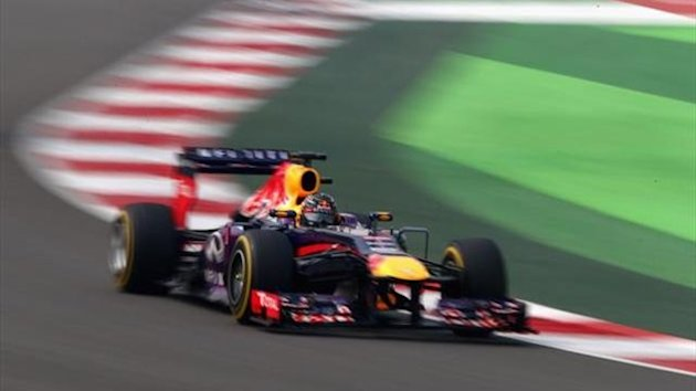 Sebastian Vettel of Germany and Infiniti Red Bull Racing drives during the final practice session prior to qualifying for the Indian Formula One Grand Prix at Buddh International Circuit on October 26, 2013 in Noida, India.