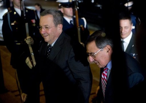 "US Secretary of Defense Leon Panetta (R) welcomes Israeli Minister of Defense Ehud Barak at the Pentagon in Washington, DC, on January 9, 2013. Panetta and Barak met to underscore a ""strong US commitment to Israel's security,"" the Pentagon said"