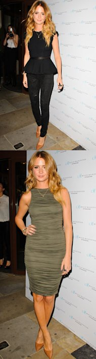 Millie Mackintosh rocks peplum and bodycon with two outfits at Nouveau lashes launch party