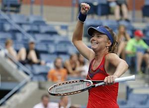 Daniela Hantuchova of Slovakia celebrates her win over Alison Riske of the U.S. at the U.S. Open tennis championships in New York September 2, 2013. REUTERS/Ray Stubblebine