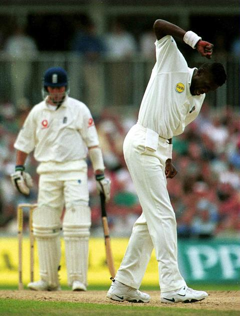 31 Aug 2000: Curtly Ambrose of the West Indies celebrates trapping Michael Vaughan of England leg before Wicket for ten during the Fifth Cornhill Insurance Test between England and the West Indies at