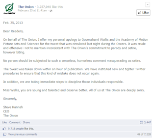 11 Ways To Humanize Facebook Brand Pages image the onion apology