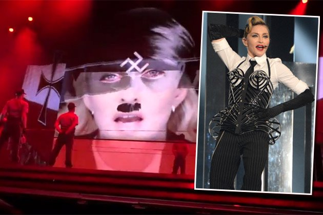 Heikel: Diese Video-Installation zeigte Madonna in Israel (Bilder: Getty Images, YouTube)