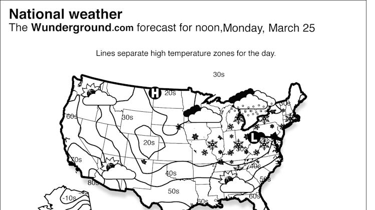 This is the national Weather Underground forecast for Monday, March 25, 2013, for the United States. A winter storm advances eastward from the Ohio River Valley and brings snow showers into the Northeast. Showers and thunderstorms over the Southeast will diminish as a front moves offshore. (AP Photo/Weather Underground)