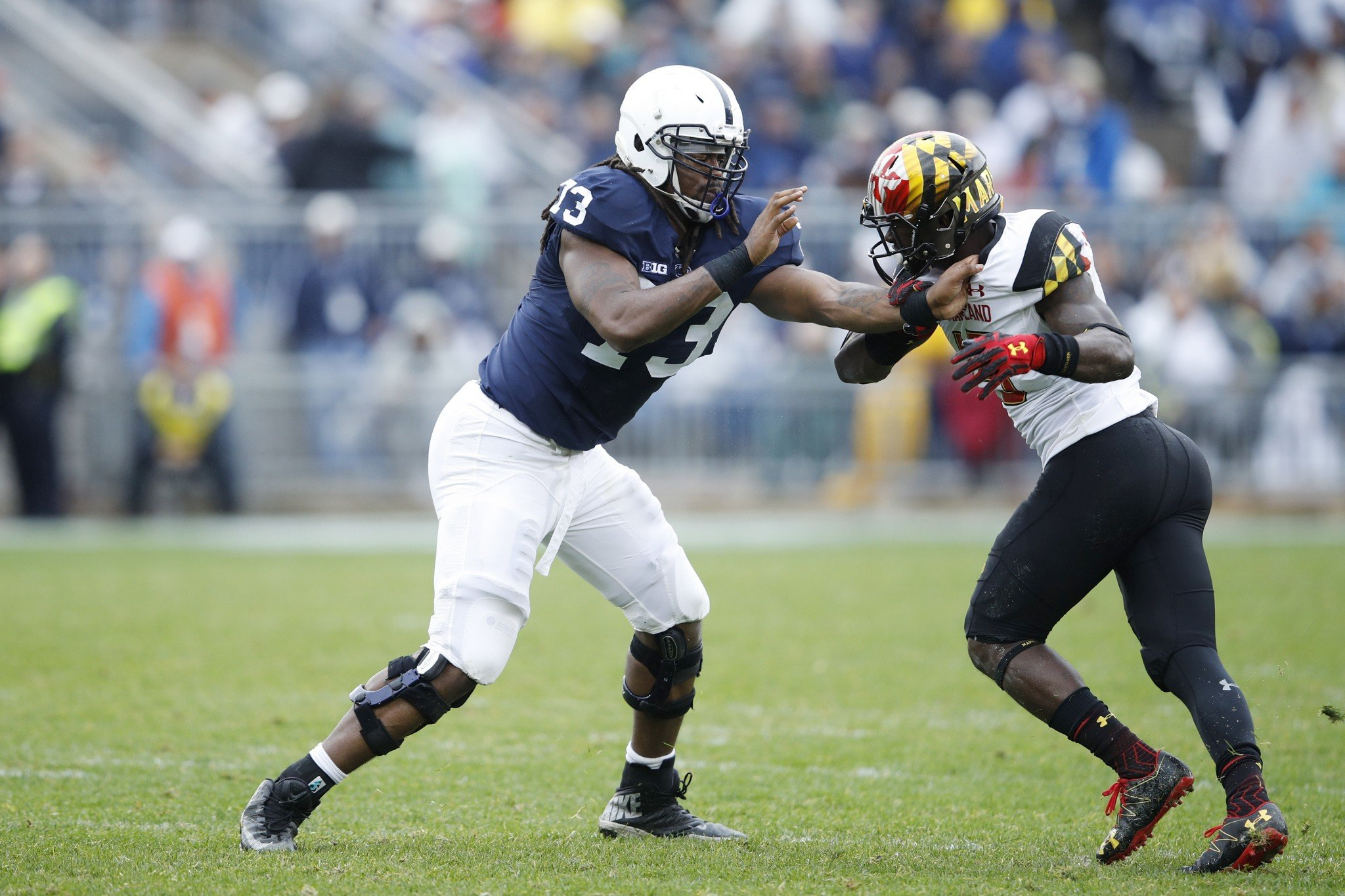 With Paris Palmer out for the season, Penn State is down to its fourth and fifth offensive tackles. (Photo by Joe Robbins/Getty Images)