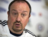 Chelsea's interim manager Rafael Benitez at a press conference at the club's training complex on December 18, 2012. Benitez has called on his Chelsea stars to erase the bitter memory of their Club World Cup final defeat defeat by moving closer to their first silverware of the season with victory over Leeds in the League Cup quarter-finals on Wednesday