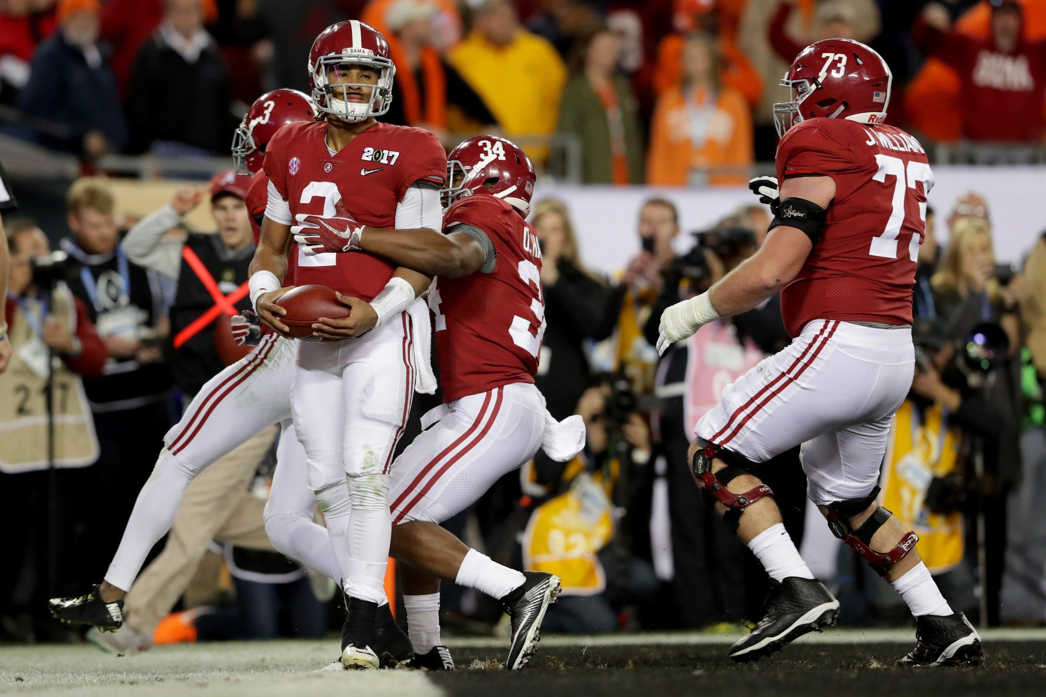 Alabama QB Jalen Hurts combined for 36 TDs as a true freshman. (Getty)