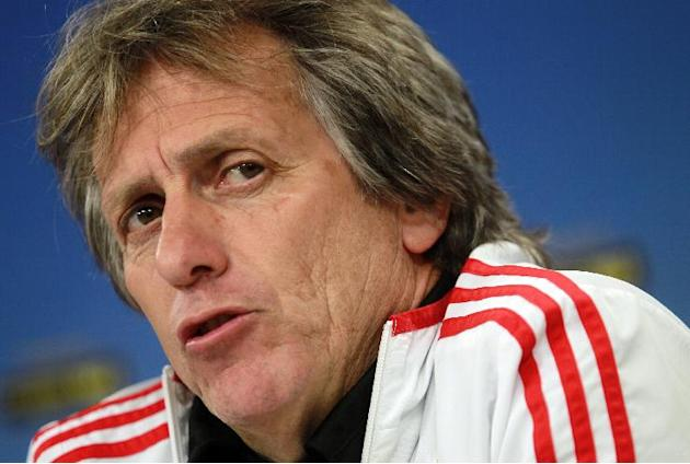 Benfica's coach Jorge Jesus talks to journalists during a news conference at Benfica's Luz stadium in Lisbon, Wednesday, April 23, 2014. Benfica will play against Juventus in a Europa League s