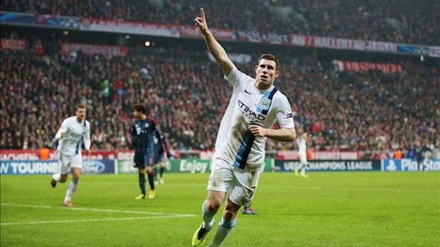 James Milner of Manchester City celebrates after third goal against Bayern Munich