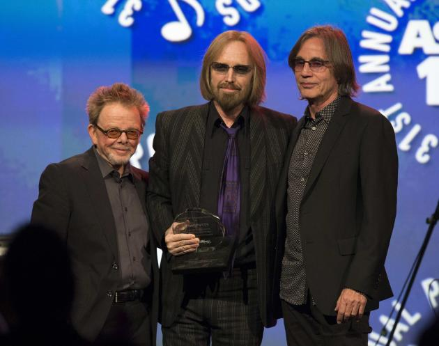 Musician Petty is presented with the Founders Award by Browne and Williams at the 31st annual ASCAP Pop Music Awards in Hollywood