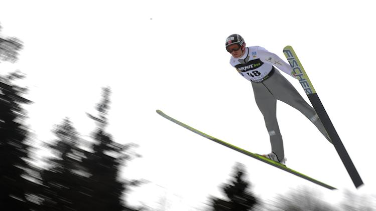 Haavard Klementsen of Norway soars trough the air during the NH Individual Gundersen Ski Jumping round of the FIS Nordic Combined World Cup event in Liberec on February 25, 2012.   AFP PHOTO / MICHAL CIZEK (Photo credit should read MICHAL CIZEK/AFP/Getty Images)