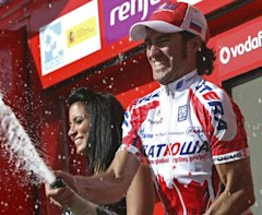Katusha team rider Moreno of Spain celebrates after winning the fourth stage of the Tour of Spain