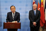 United Nations Secretary General Ban Ki-Moon (L) speaks to the media with UN chief weapons inspector Ake Sellstrom (R) after briefing the Security Council on the weapons inspectors report on chemical weapons in Syria on September 16, 2013 at UN headquarters in New York