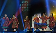 "Russia's group ""Buranovskiye Babushki"" (Buranovo Grannies) perform during the Grand Final of the Eurovision 2012 song contest in the Azerbaijan's capital Baku. The choir of elderly women who performed a disco song ""Party for Everybody"" in English and their local Finnic language came in second"