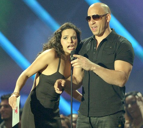 Michelle Rodriguez with co-star Vin Diesel