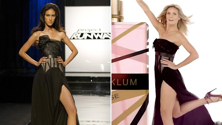 Heidi Klum Rocks 'Project Runway' Designs - Commercial dress by Layana Aguilar and Kate Pankoke, 5th place and 9th place, respectively