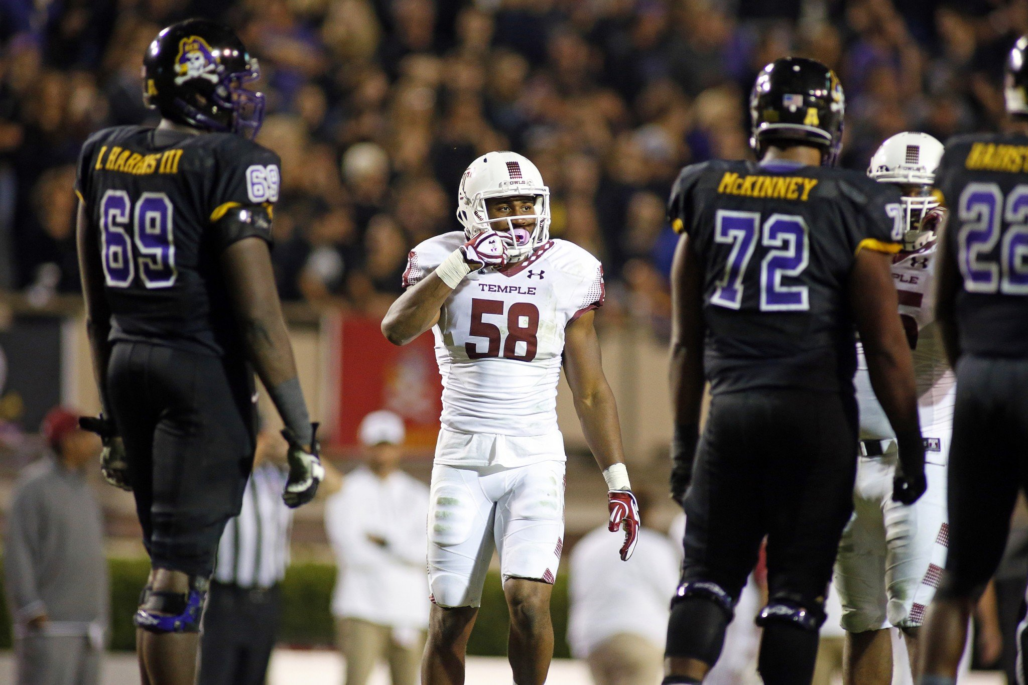 Temple's Haason Reddick (58) during the second half of an NCAA college football game against East Carolina in Greenville, N.C., Thursday, Oct. 22, 2015. (AP Photo/Karl B DeBlaker)