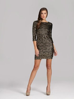 MM Couture by Miss Me 3/4-Sleeve Sequin Dress