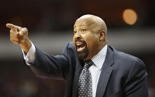 FILE - In this Jan. 5, 2014 file photo, New York Knicks head coach Mike Woodson gestures during the second half of an NBA basketball game against the Dallas Mavericks in Dallas. The Knicks have fired