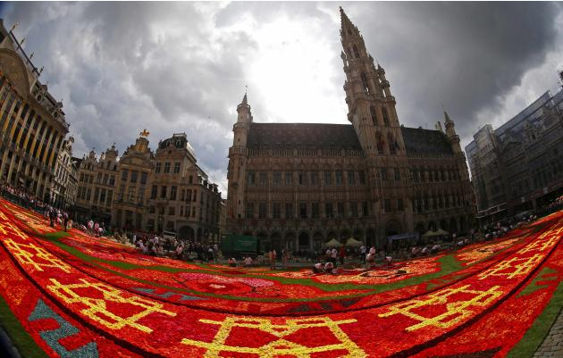 A giant flower carpet is seen at Brussels' Grand Place