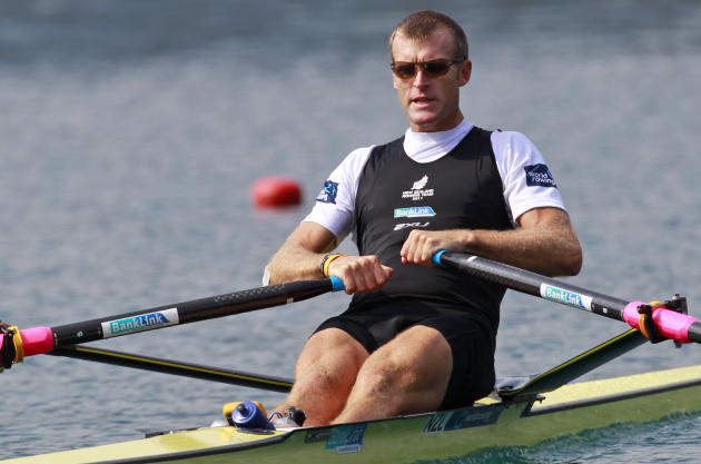 Mahe Drysdale from New Zealand competes in the Men's Single Sculls quarterfinals at the Rowing World Championships in Bled, Slovenia, Wednesday, Aug. 31, 2011. (AP Photo/Darko Bandic)
