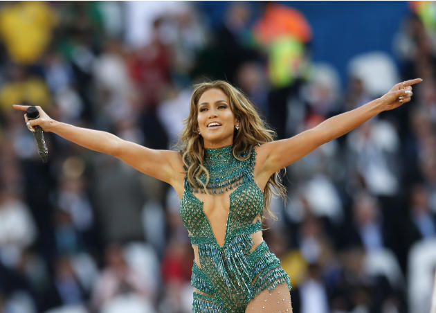 United States singer Jennifer Lopez performs during the 2014 World Cup opening ceremony ahead of the group A soccer match between Brazil and Croatia, the opening game of the tournament, in the Itaquer