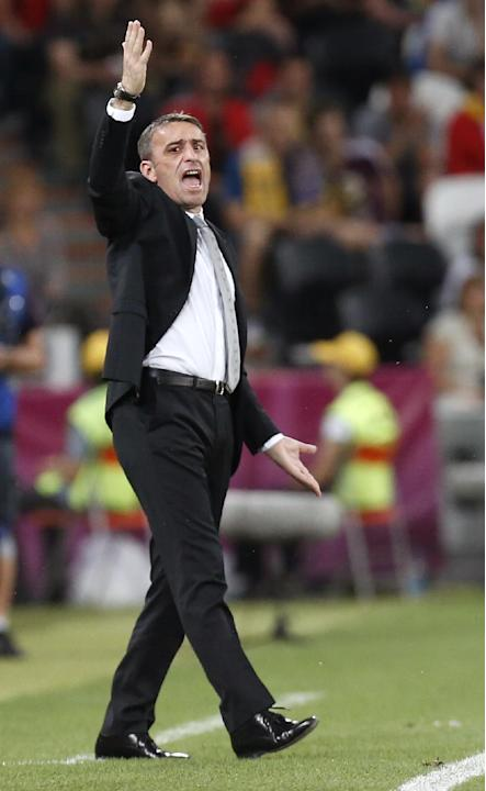 In this June 27, 2012, file photo, Portugal head coach Paulo Bento gestures during the Euro 2012 soccer championship semifinal match between Spain and Portugal in Donetsk, Ukraine