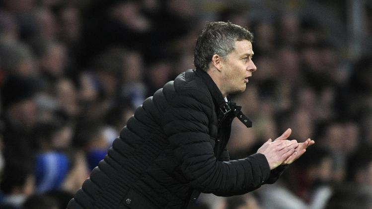 Cardiff City's manager Solskjaer reacts during their English Premier League soccer match in Cardiff