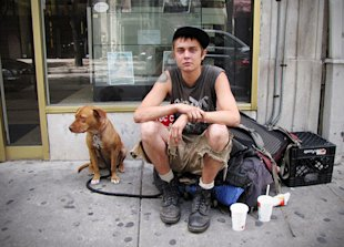 Homeless youth and his dog