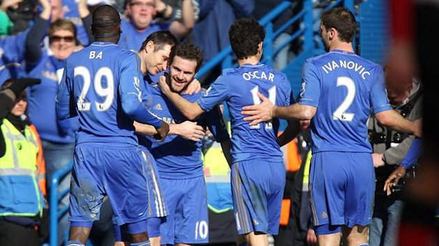 Juan Mata celebrates his goal for Chelsea (PA Photos)