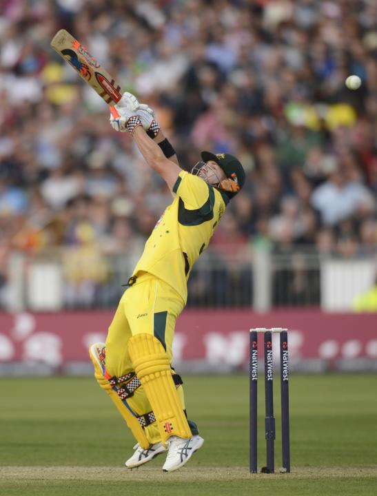 Australia's Warner misses the ball during the second T20 international against England in Chester-le-Street