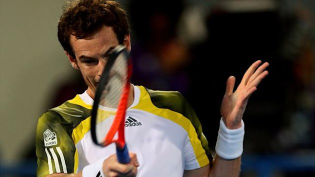 Andy Murray plays a shot at the Mubadala World Tennis Championship in Abu Dhabi
